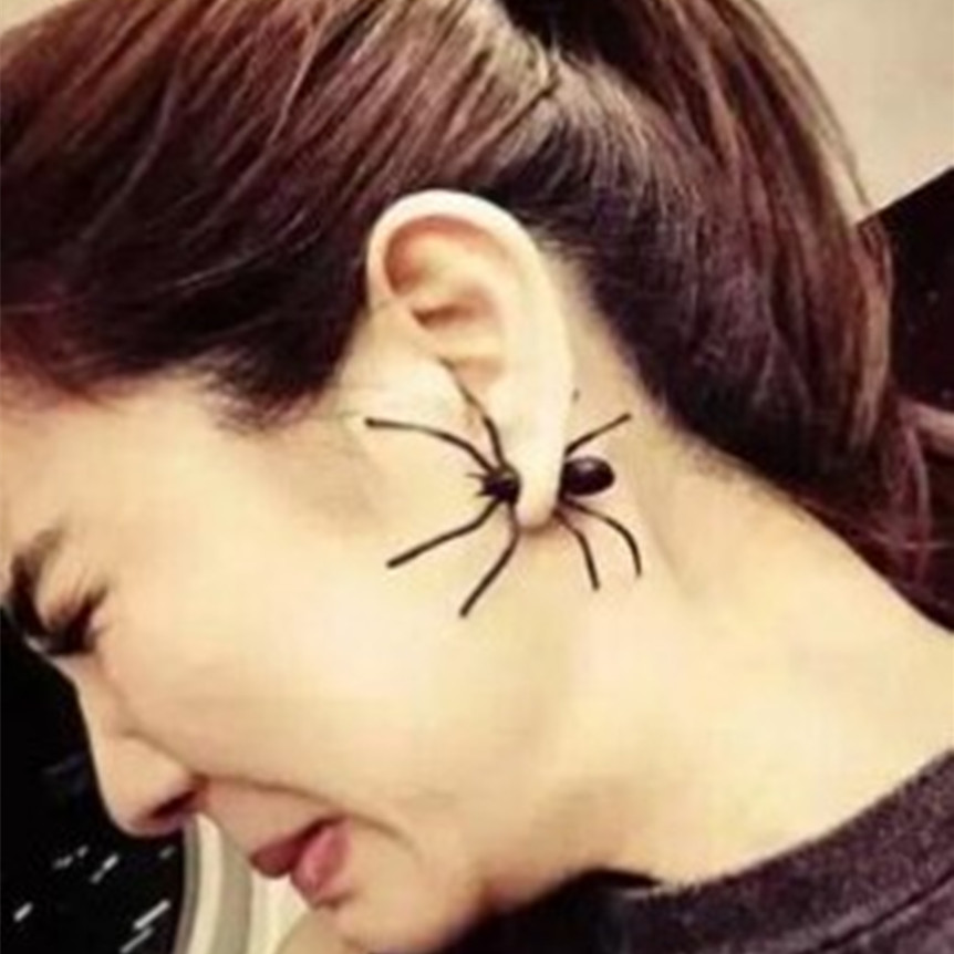 The New Fashion Designer Big Black Spider Insect Pierced Earrings Christmas Gifts For Men And Women Earrings Earring Led Earingsearring Storage Aliexpress