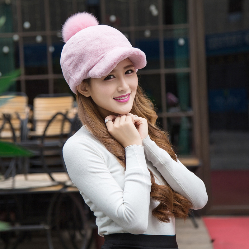 2017 Special Offer Adult Casual Solid New Arrival Winter Fur Caps Rex Rabbit Women Knitted Ear Hat With Pom Poms Female Hats 2017 winter fur hat female rex rabbit fur hat with fox fur pom poms fur knitted beanies fashion high quality caps for women hats