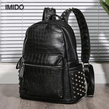IMIDO Couple Backpacks for Men Women Bag PU Leather Men's Shoulder Bags Male Business Casual Teenage School Bags mochila SLD163