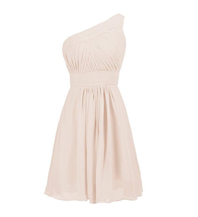 Une épaule robe de soirée de mariage en mousseline de soie courte robe de demoiselle d'honneur vert menthe Vestido Azul Marino robe de mariée invité 2019 Actural