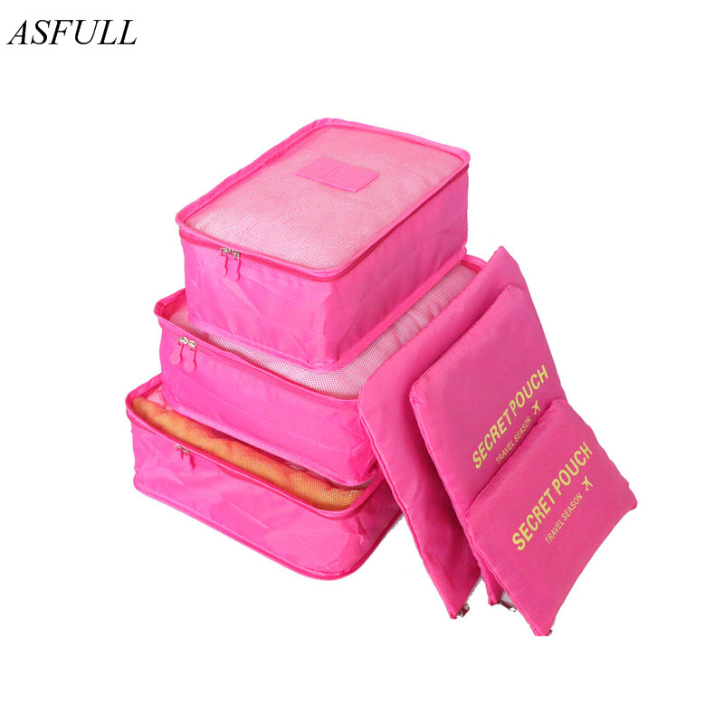 6 pcs Home Storage Bag Organization Polyester Packing Cube Travel Bags Clothes Closet Di ...