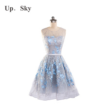 2017 new high-end lace summer grey sexy fashion night with a no-mail evening dress