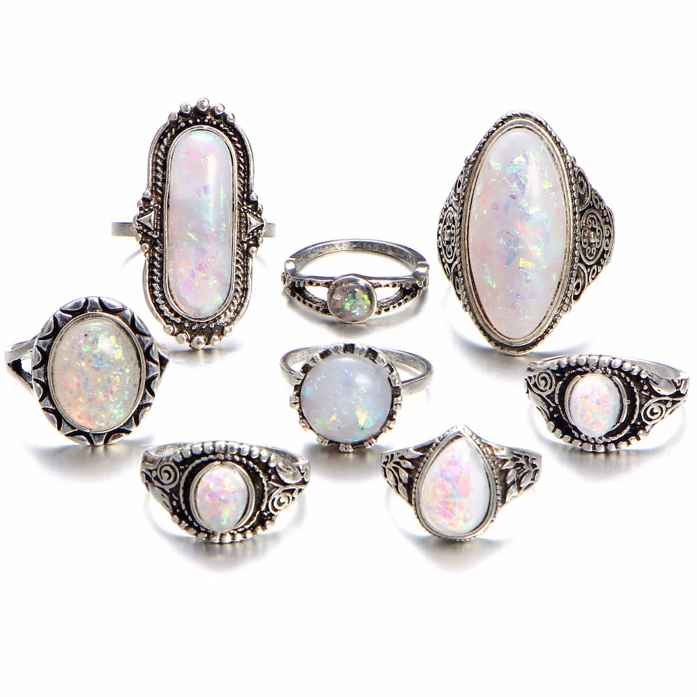 SOXY Vinage Ancient Silver Women 8 pcs Ring Set Big Opal Opal Midi Finger Rings Sets For Woman Bohemia Opal Jewelry Ring Set
