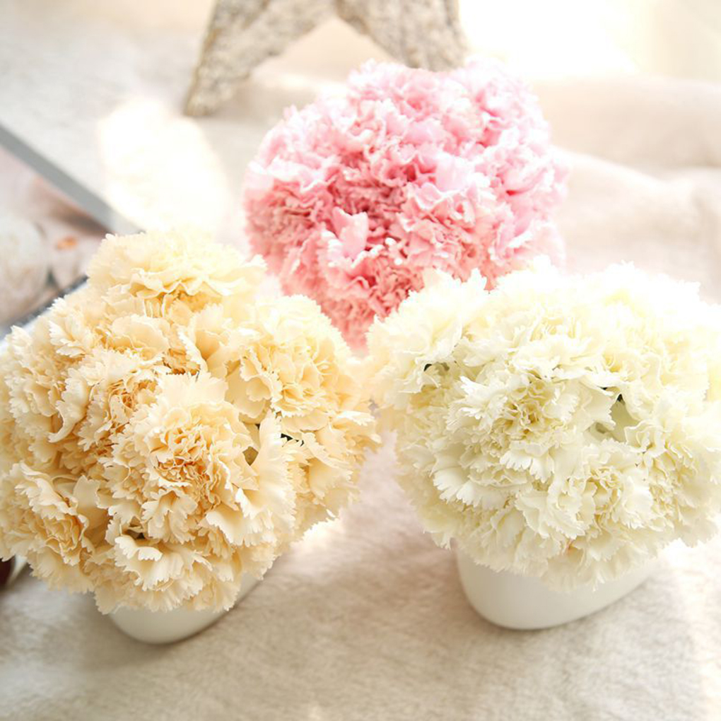Artificial Silk Flower Carnation 6 Heads/Bouquet for Wedding Party Home Decoration Multi-Color
