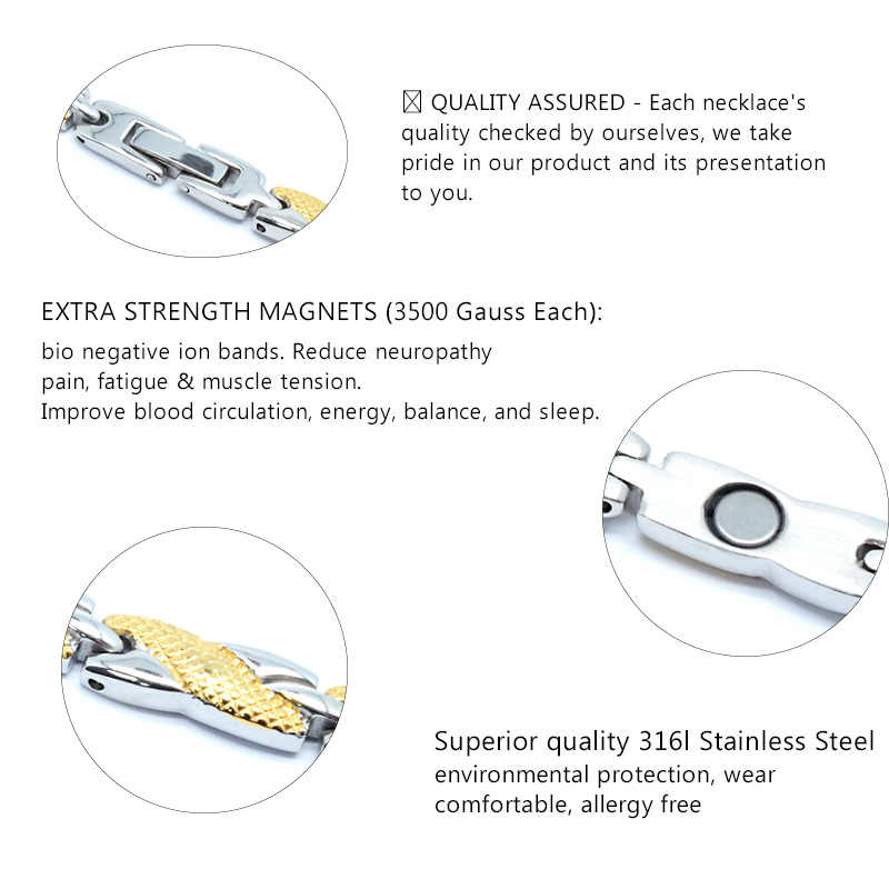 Escalus Lover Fashion Jewelry Stainless Steel Necklace For Women 2-Tone Colors Magnetic Necklaces Silver Gold Color Neckwear