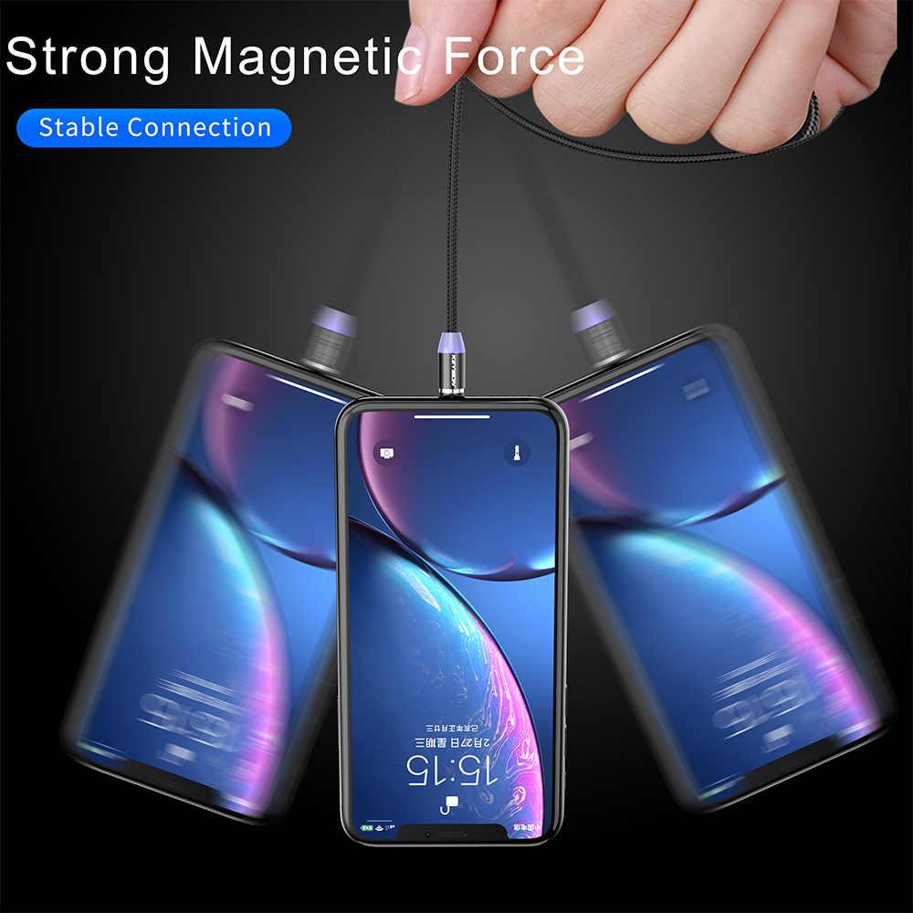 KEYSION LED كابل مغناطيسي ل البرق المصغّر usb نوع C الهاتف كابل ل فون X Xr Xs ماكس 1 m 2 m 2A سريع تهمة المغناطيس شاحن