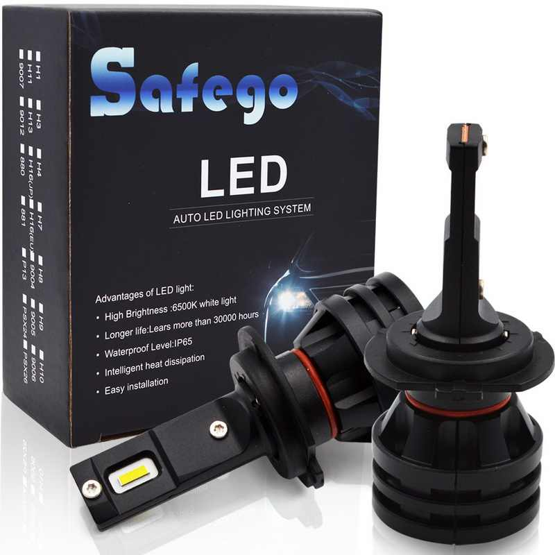 Safego M2 2PCS H7 LED H4 LED H11 H8 H9 Car Headlight Bulbs 55W 6000LM Super bright 6500K led motorcycle light lamps for cars