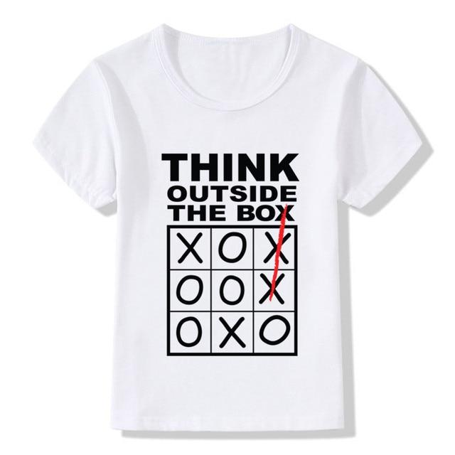 2017 Children Think Outside The Box Print Funny T Shirts Kids ...