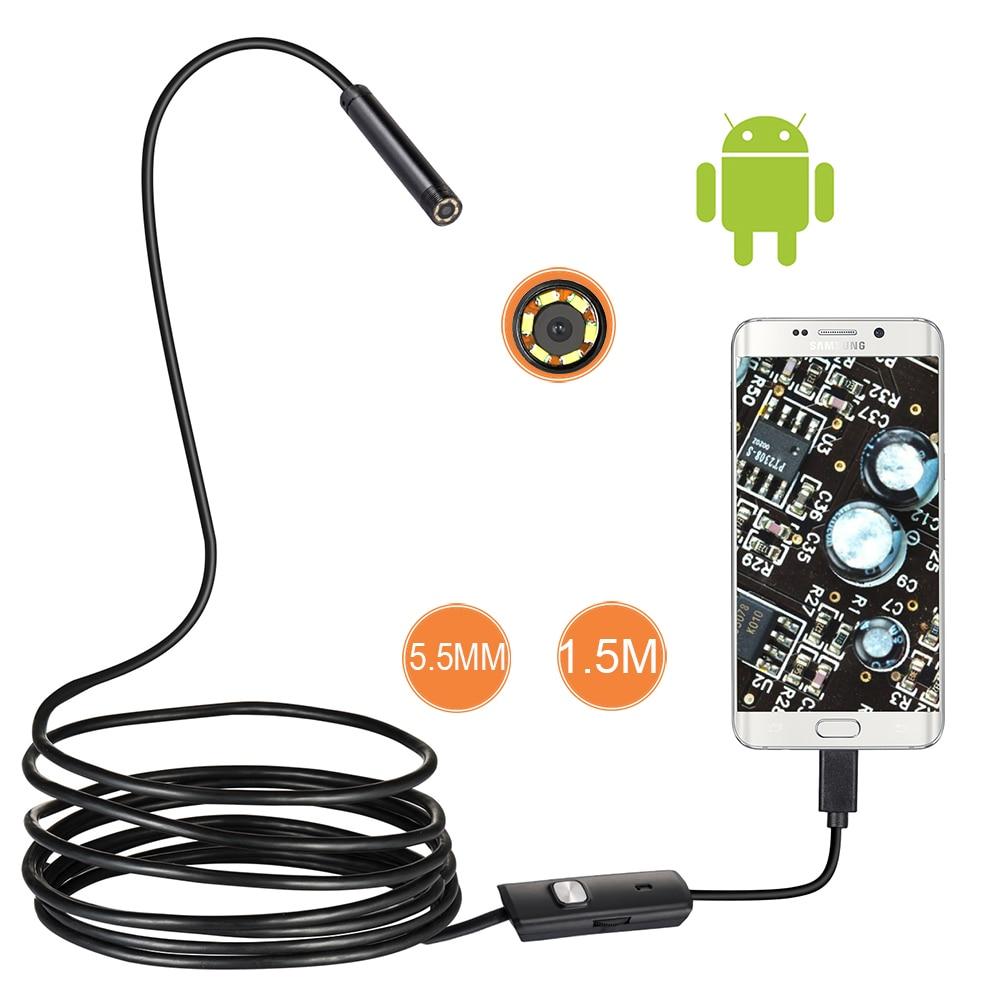 5mm Objektiv Endoskop Hd 480 P Usb Otg Schlange Endoskop Wasserdicht Inspektion Rohr Kamera Endoskop Für Android Telefon Pc 5/2 Mt 7/5 Gerade 1/1
