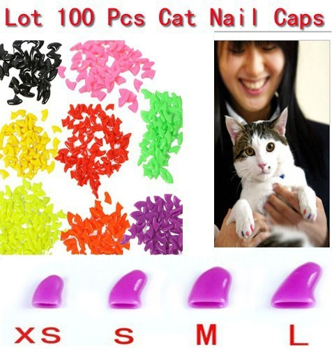 lots 100pcs 14 colors soft cat pet nail caps claw control