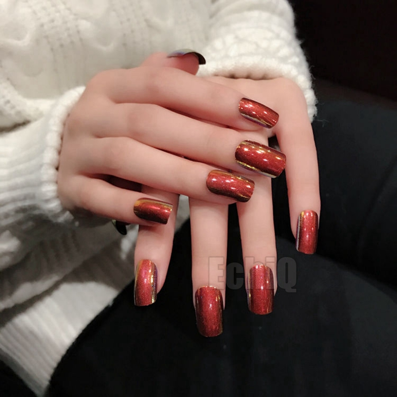 Sparkly Glitter Decoration Acrylic Nails Red Shinning Surface Medium ...