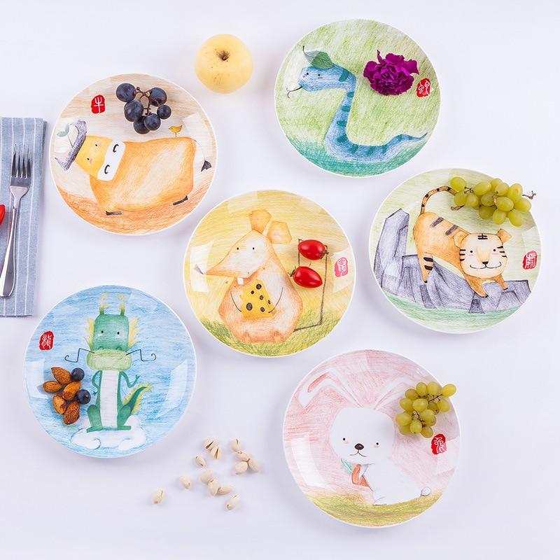 1pc Cartoon Animals Plate 8 Inch Bone China Ceramic Dinner