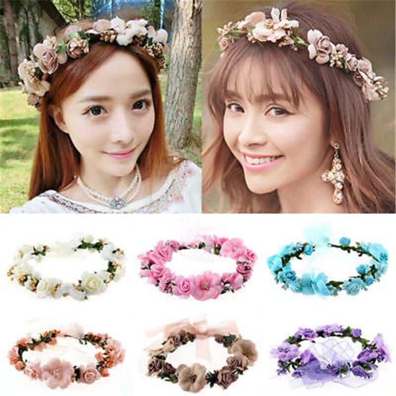 Wilskrachtig Koreaanse Fashion Vrouwen Crown Bloem Hoofdband Bruiloft Bridal Boho Haaraccessoires Mooie Krans Versieren Uw Mooie Gezicht