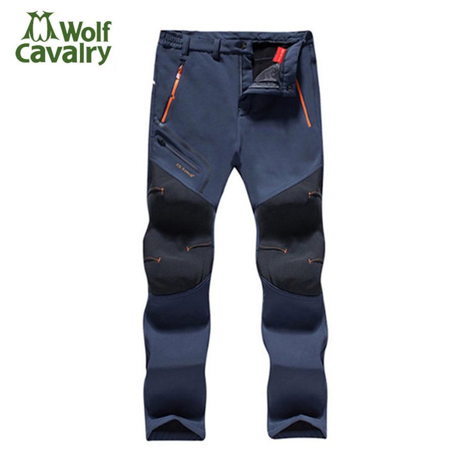 Polaire Hommes Femmes Randonnée Pantalon En Plein Air Softshell pantalon D'hiver Pantalon Coupe-Vent Imperméable Thermique pour Camping Ski Escalade