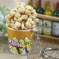 Artificial food keychain  popcorn bowlful key pendant novelty keychains ring