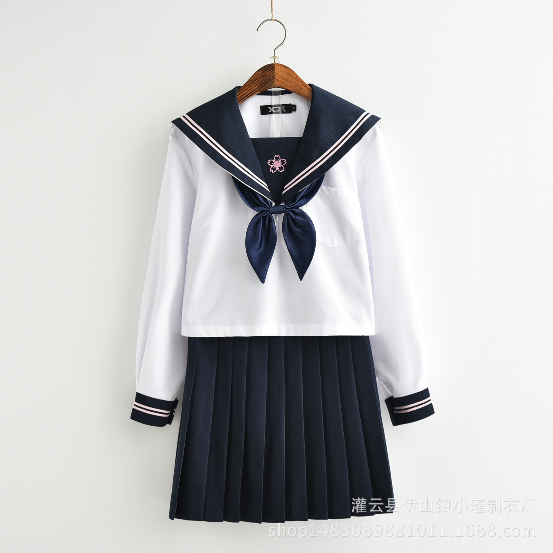 Sailor Suit School Uniform Long Sleeve Sets Jk School Uniforms For Girls White Shirt And Dark Blue Skirt Suits Student Cosplay