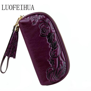 LUOFEIHUA  Genuine Leather Women's bag  2020 new banquet embossed leather packet Fashion clutch Designer bag