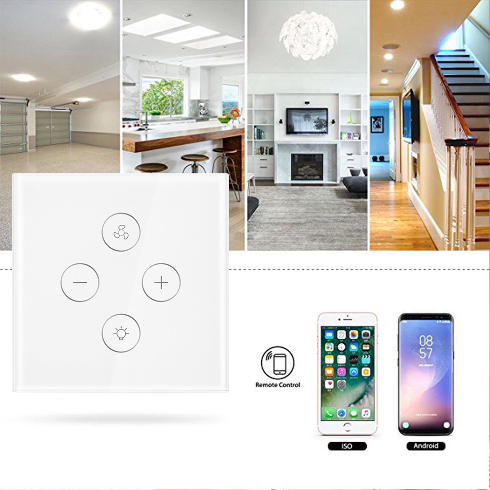 EU Plug Smart WiFi switch for Fan light Compatible with Alexa Google Home Smart Life App Control No Hub Required-in Smart Remote Control from Consumer Electronics