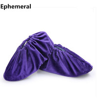 Adult and children indoor floor shoes covers fur overshoes winter washable anti resistant for cleaning crew 10 pairs pouches