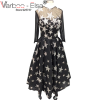 VARBOO_ELSA 2018 New The Banquet Elegant black Gown long sleeve O neck A line Bling Bling Stars Party Prom Evening Dresses