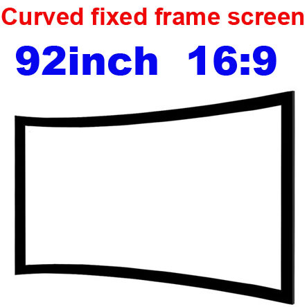 Freeshipping! 16:9 92inch soft matte white 3D wall screen fixed curved frame projection Manual screen for home theater projector 150 inch 16 9 fixed frame home theater projection projector screen 3 15 wide black velvet coated frames wall mount screens