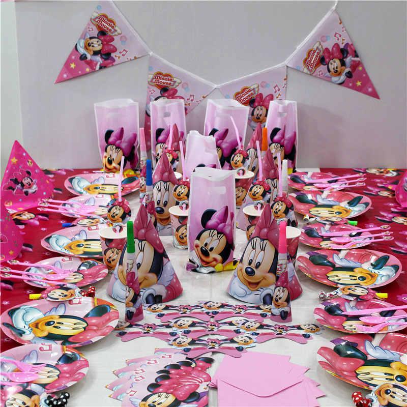 Mickey tema parti Minnie Mouse pembe bebek duş tek kullanımlık kağıt peçeteler tepsi doğum günü partisi dekorasyon çocuk oyuncakları