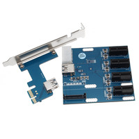 Newest PCI Expansion Riser Card PCI E 1X To 4X PCI E Slots Switch Multiplier Hub