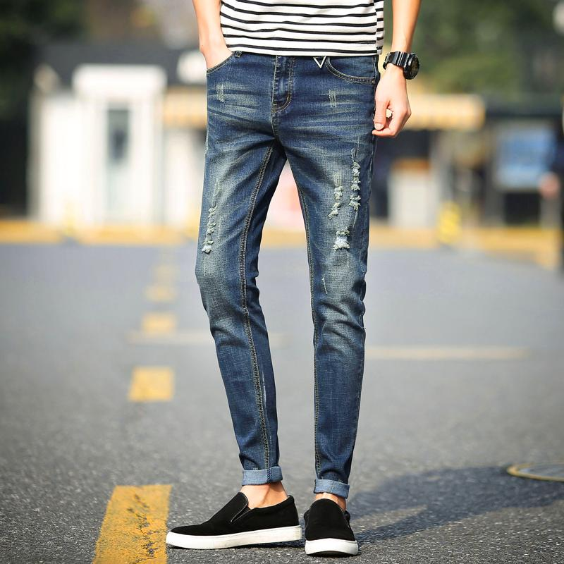 2018 New Men Jeans Business Casual Straight Slim Fit Blue Jeans Stretch Denim Pants Cowboys Mens Trousers