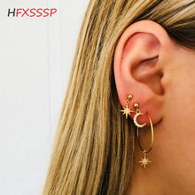 HFXSSSP fashion temperament new crystal stars moon geometry ear ring combination plating earrings set earrings female jewelry(China)
