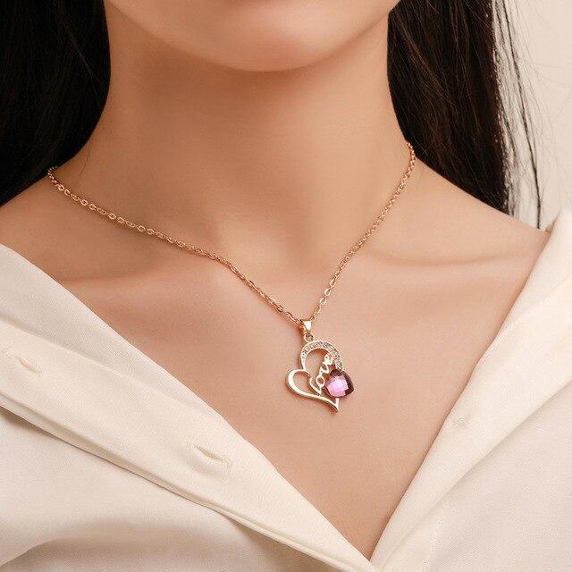2019 or romantique coeur pendentif colliers ensemble de bijoux exquis boucle doreille anneaux ensemble pour les femmes de mariage fête fiançailles bijoux