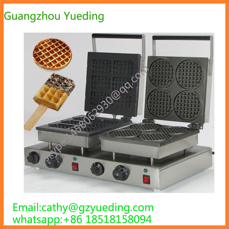 Directly factory price Commercial electric double head egg waffle maker for round waffle and rectangle waffle