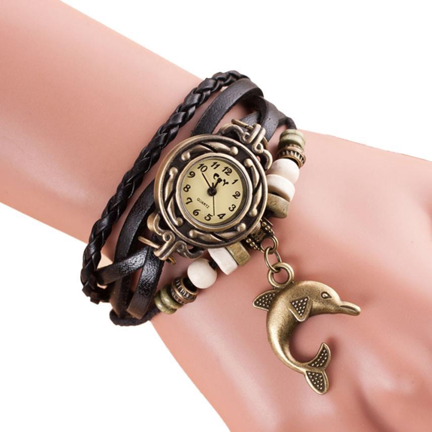 где купить Relogio Feminino Womens Watches Watch Dropshipping Gift Quartz Weave Around Leather Dolphin Bracelet Lady Woman Wrist August1 по лучшей цене