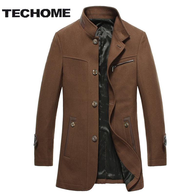 Men s Jackets Cashmere Coats 2016 Men Woolen Coats Solid Stand Collar Business Casual Wool Blends