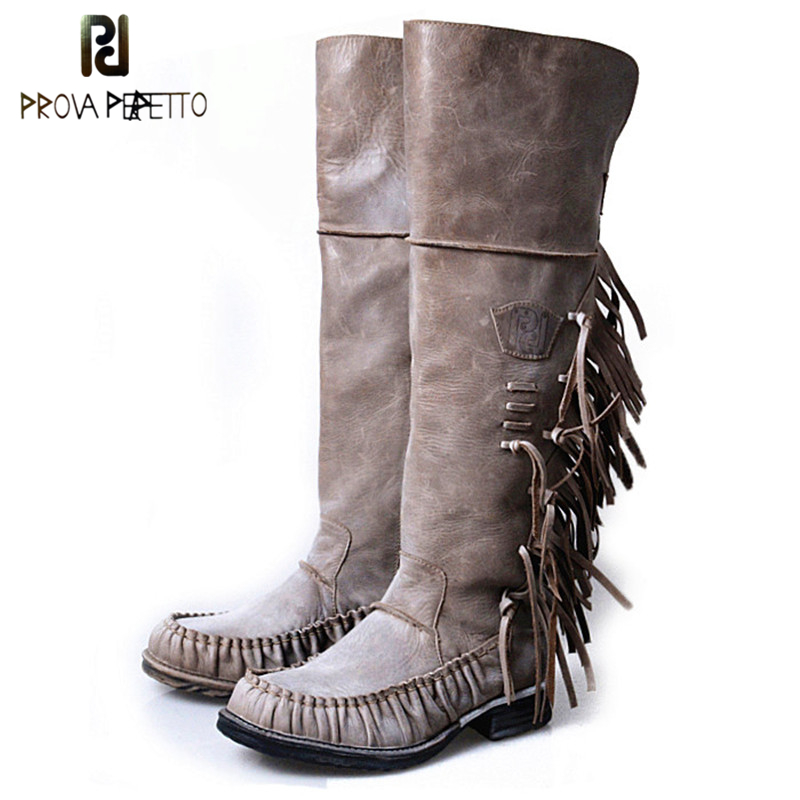 Prova Perfetto Sheepskin Genuine Leather Pleated Round Toe Knee High Woman Boots Patchwork Fringe Zipper-side Knight BootsProva Perfetto Sheepskin Genuine Leather Pleated Round Toe Knee High Woman Boots Patchwork Fringe Zipper-side Knight Boots