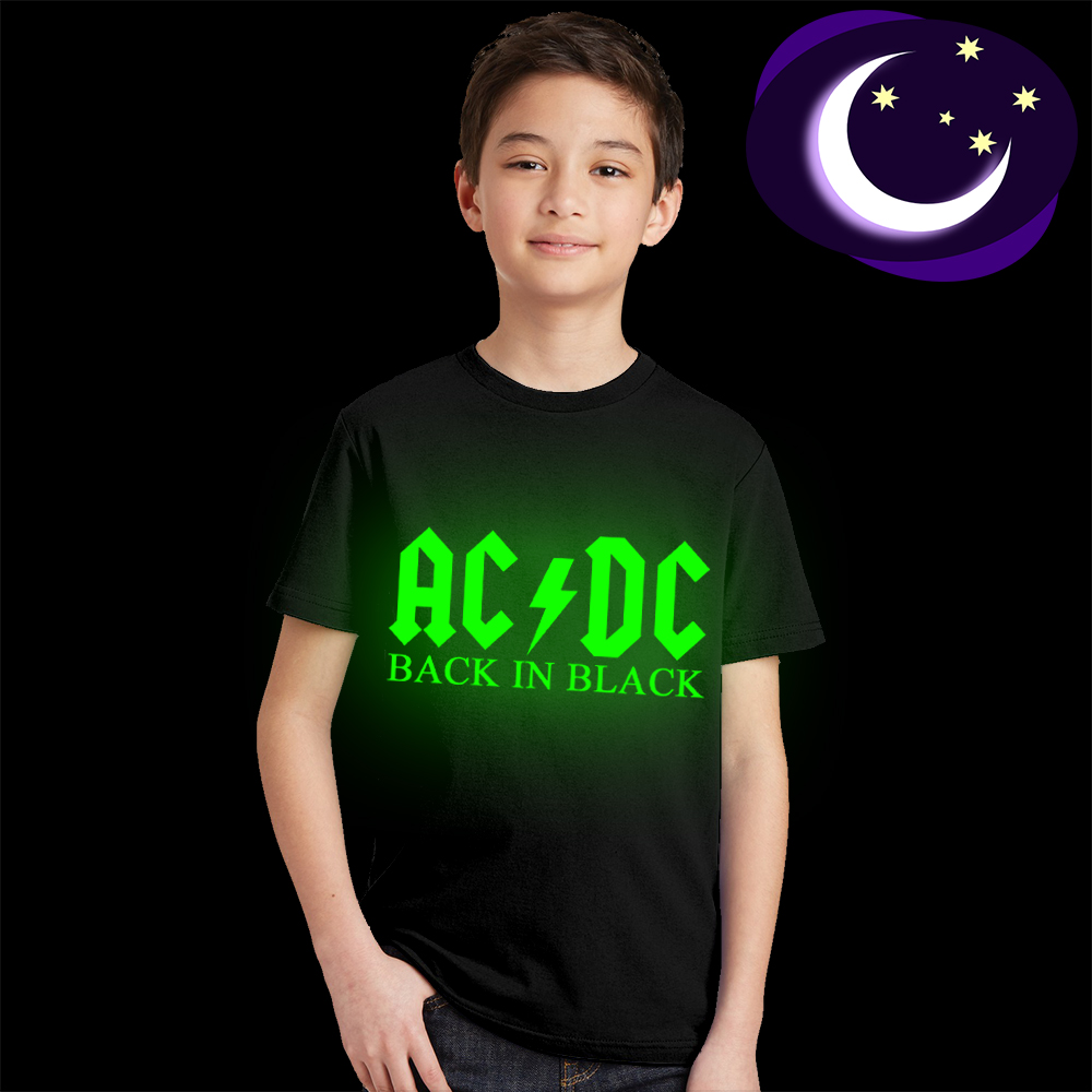цена Luminous ACDC Kids T Shirt Fluorescent AC DC Letter Logo Print Children T-shirt Glow In Dark AC/DC Graphic Boy Girl Rock Tshirt