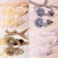 Peony Flower Sash Matching Baby Headband Flower Sash Belt Maternity Sash Baby Hair Band