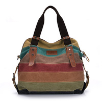 High Quality Panelled Women Shoulder Bag Fashion Patchwork Canvas Messenger Bags Shopping Tote Handbag Colorful Casual