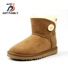 ANT FAMILY Natural Fur Snow Boots Women Winter Fashion Classic Ankle Boots 2016 Warm Australia Sheepskin Buckle Strap Snow Boots
