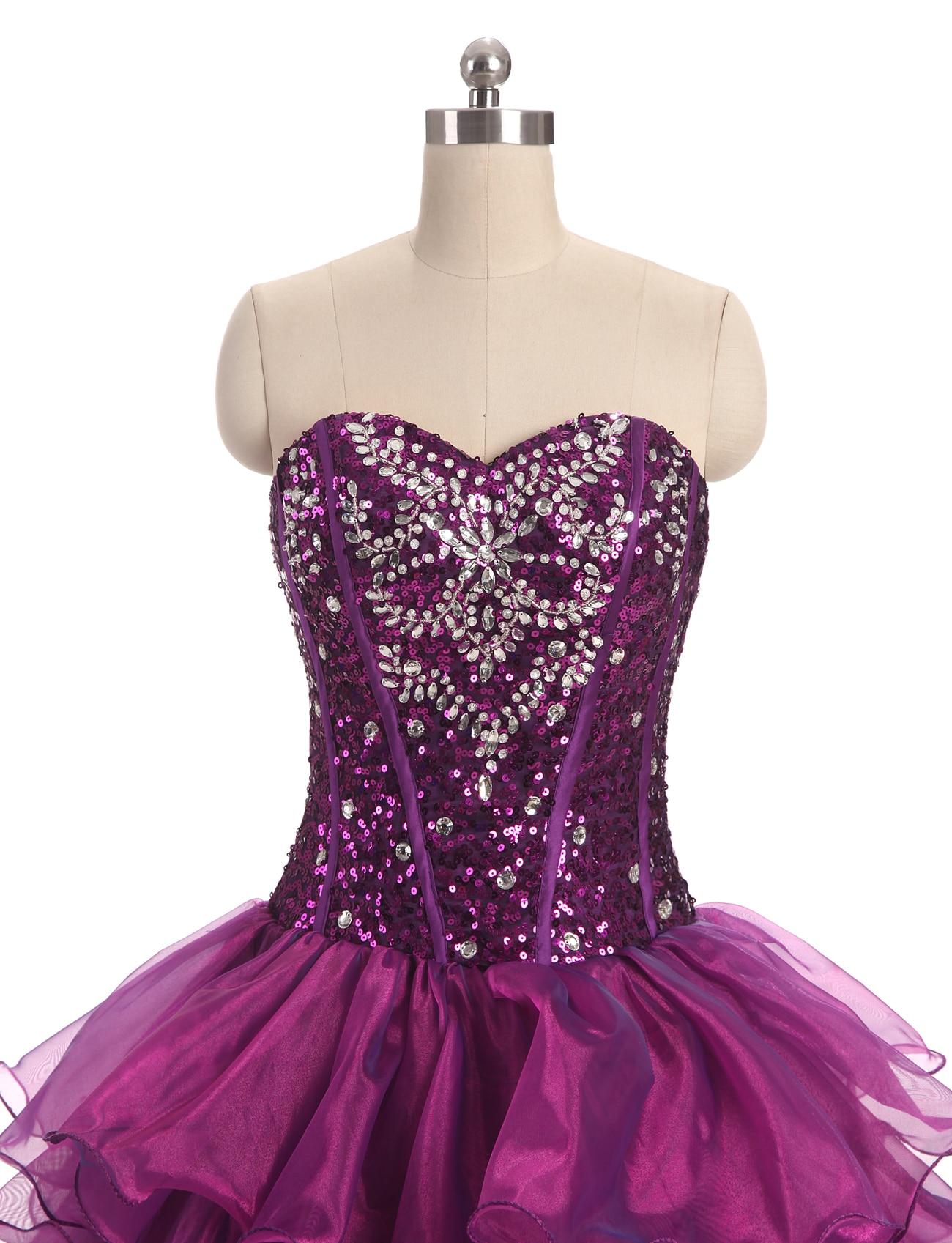 2017 nieuwe sweetheart paarse jurken organza sweet 16 jurken - Jurken voor bijzondere gelegenheden - Foto 4