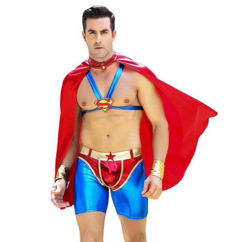 Nouveau Cosplay Anime Superman joue un uniforme amusant lingerie Sexy pour Halloween Cool hommes Clubwear Halloween Cosplay fantaisie adulte ensemble