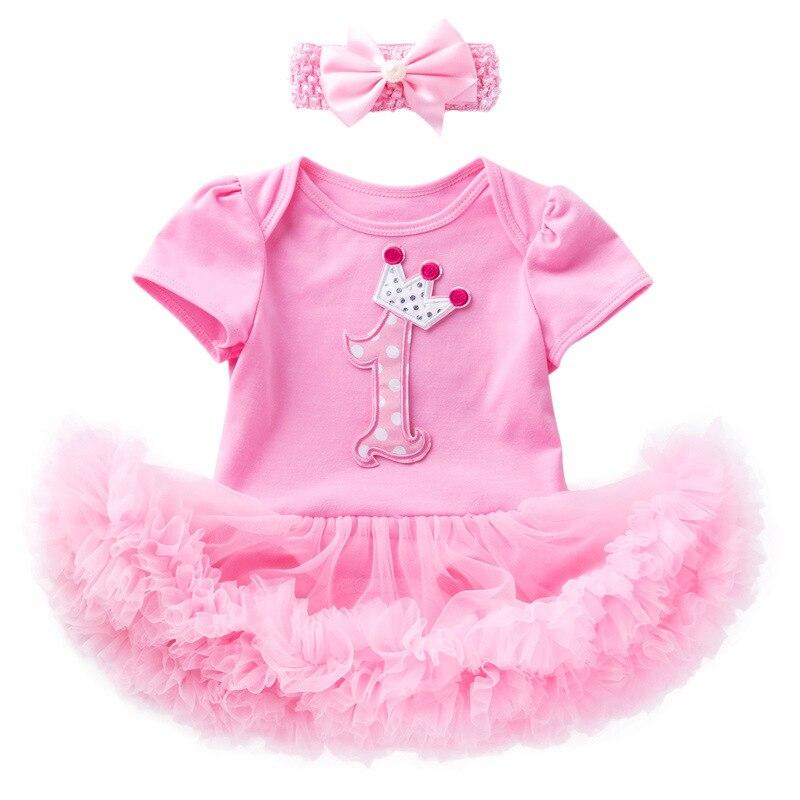 Bebê Meninas Vestidos de Roupas De Aniversário para 1st Primeira Festa de Aniversário do Ano Batismo Tutu Vestido Romper + Bow Headband 1 2 pcs Terno