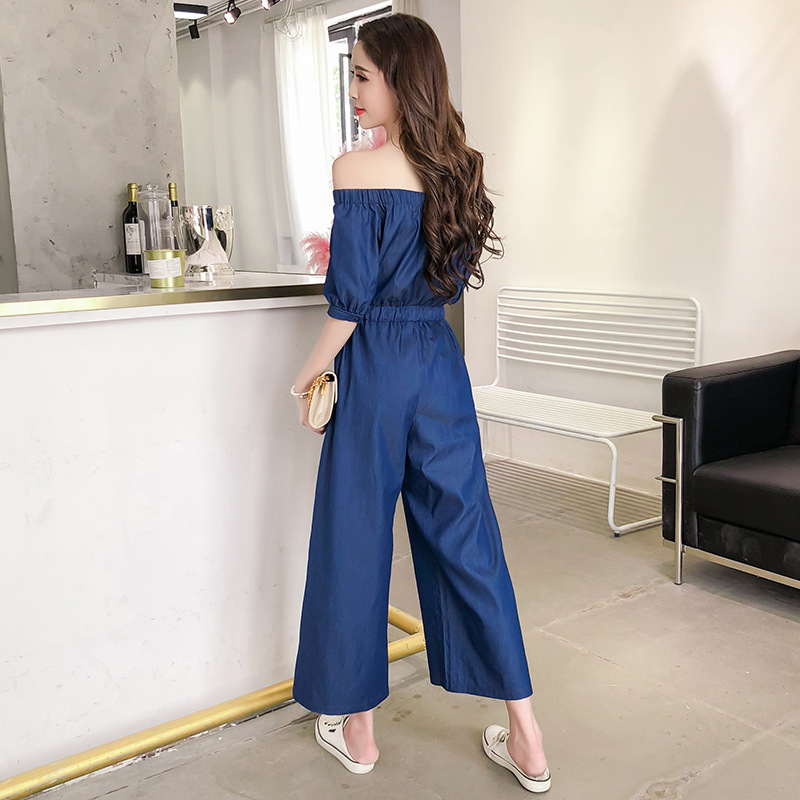 Wide Leg Denim Denim Jumpsuits Romper Off Shoulder Overalls for Women Blue Short Sleeve Female Streetwear 40