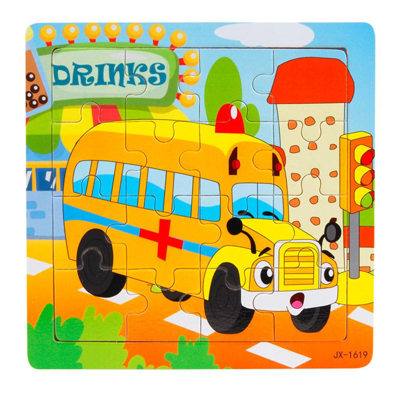 2017 High Quality Wooden Kids 16 Piece Jigsaw Toys For