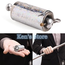 Free Shipping Appearing Cane Metal Silver Magic Stick Wand Tricks Close Up Illusion Silk To Props Kid Best Gift