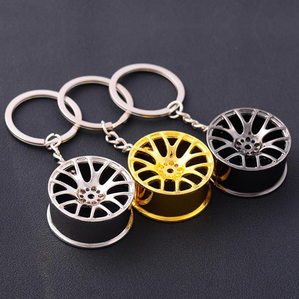 wholesale 20PCS/bag 2017 Cool Luxury metal Keychain Car Key Chain Key Ring creative wheel hub chain For Man Women Gift high grade metal creative car key chain