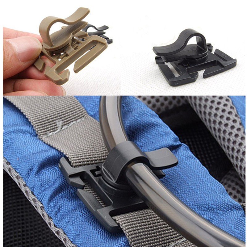 Drink Tube Clip Gear Water Pipe Hose Clamp Backpack Molle Carabiner Tactical Buckle Outdoor Camping Hike Hydration Bladder