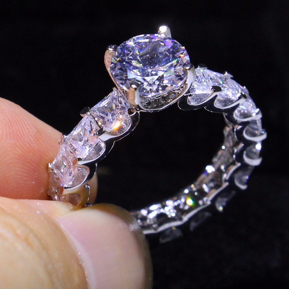 Wedding-Band-Ring Luxury Jewelry 925-Sterling-Silver Women Zirconia Stack for Square
