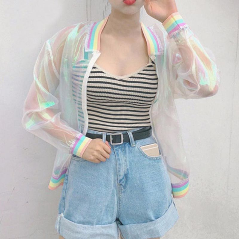 Harajuku Summer Women Jacket Laser Rainbow Symphony Hologram Women Coat Lridescent Transparent Bomber Jacket Sunproof S4