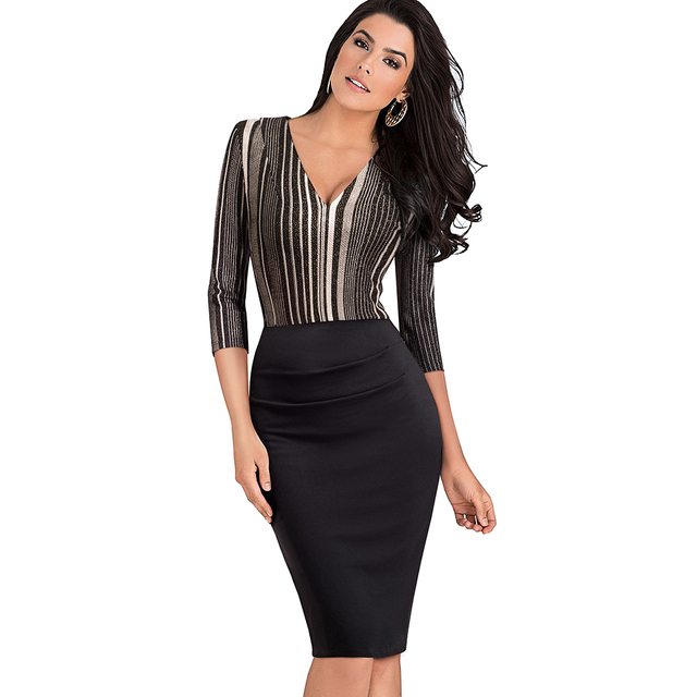 Women Elegant Sexy V Neck Ruched Pleated Striped Vintage Slim Tunic Work Office Business Party Bodycon Pencil Dress EB418