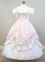 Розовый и белый платье гражданская война костюм ренессанс dress satin dress